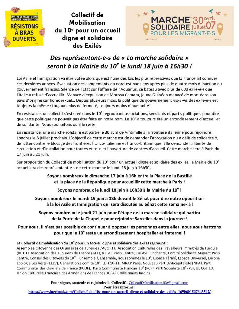 Collectif du 10 -Appel Accueil de la Marche Solidaire dans le 10e
