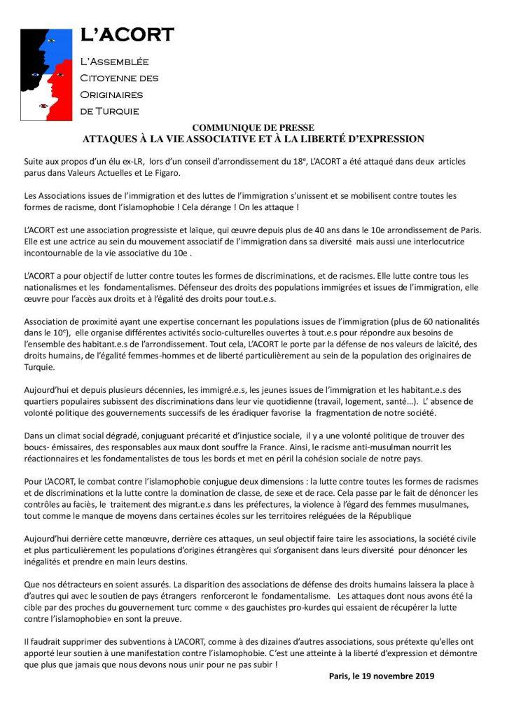 ACORT_Communique de Presse ATTAQUES A LA VIE ASSOCIATIVE ET A LA LIBERTE D_EXPRESSION1